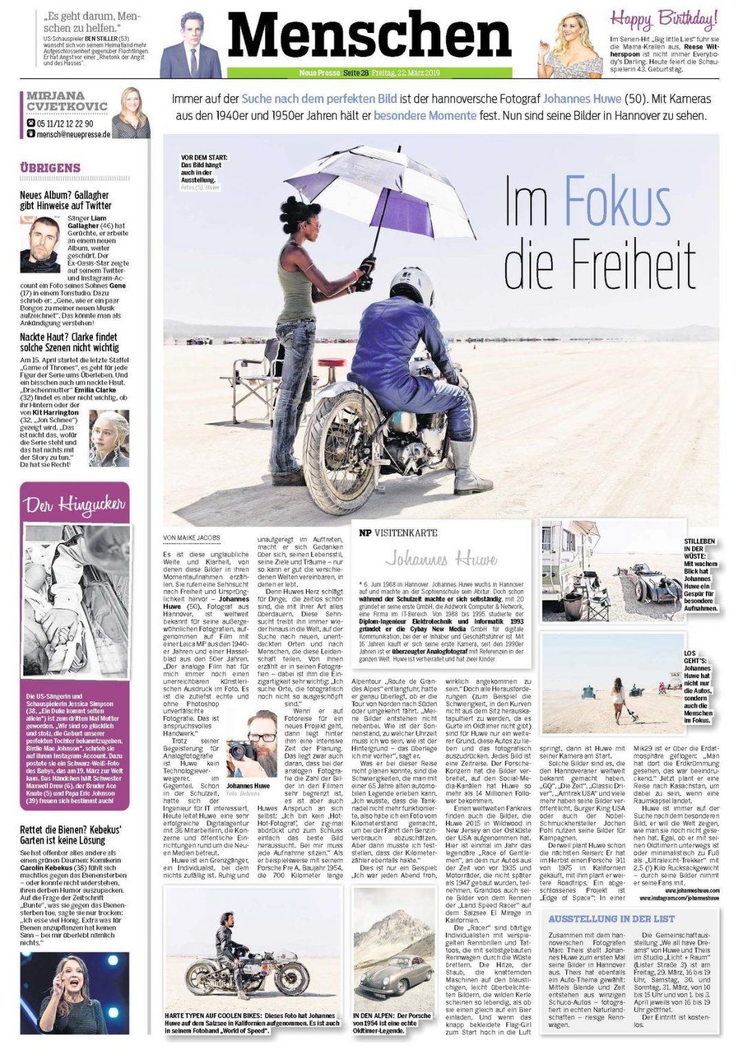 Heute in der Neuen Presse: Ganzseitiger Artikel über Huwes Arbeiten